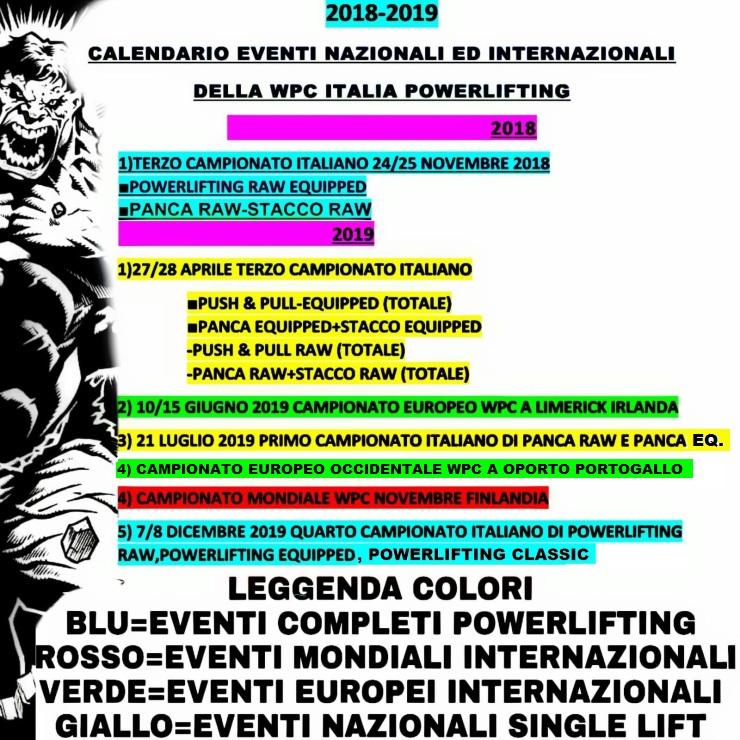Calendario Campionato Portoghese.Calendario Wpc Italia Professional Powerlifting